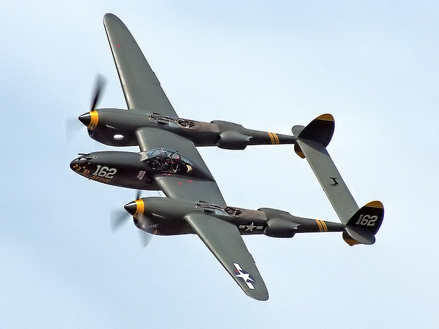 "P-38 Lightning - This plane had a distinctive sound from it's turbochargers. While there are a couple still flying to this day, most (all?) operate sans-turbo. It also killed Antoine de St. Exupéry (author of ""Le Petit Prince"").: Mustang, Fork"