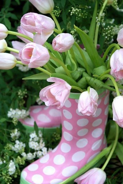PinK & polka dots<3 ~ This would make an adorable centerpiece for a spring wedding or baby shower!: Idea, Polka Dots, Rain Boots, Tulip, Pink, Polkadots, Flowers, Spring, Garden