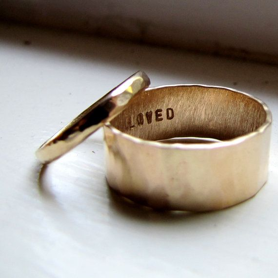 Simple Unique Wedding Band Set of Hammered Gold I honestly would love just this simple of a wedding ring.: Wedding Band Sets, Unique Wedding Rings, Hammered Band, Wedding Ideas, Unique Wedding Bands, Hammered Gold, Gold Wedding, Unique Weddings