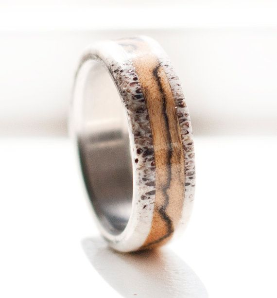 So..So...SO PERFECT FOR NATE!!!!!!!!! Spalted Maple and Antler Ring Titanium Ring by StagHeadDesigns, $220.00: Wedding Ring, Titanium Rings, Men Wedding Bands, Antlers, Antler Ring