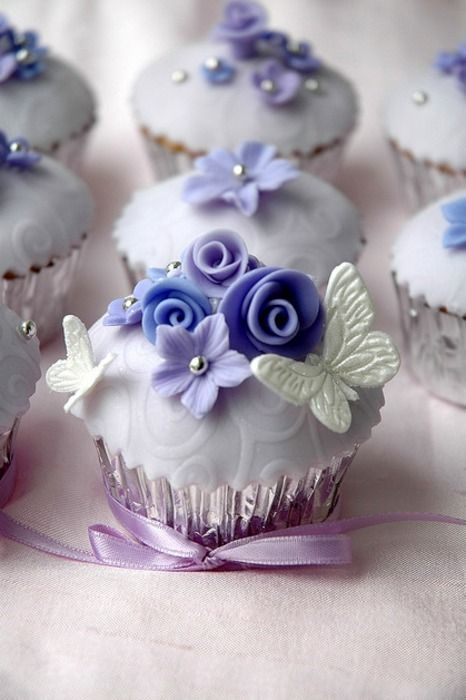 Stunning Fancy Floral Cupcakes from http://omgitscindy.tumblr.com/post/2564574037/butterfly-cupcake-3: Cup Cakes, Sweet, Cupcakes, Food, Purple Cupcake, Pretty Cupcake, Wedding Cake