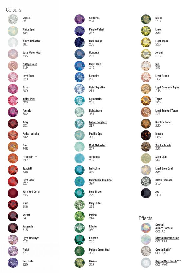 Swarovski Color Chart as a reference for when she mentions a color and I have no idea what she's talking about.: Craft, Idea, Chart Swarovski, Colors, Color Charts, Colorchart Inspiration, Chart Colorchart