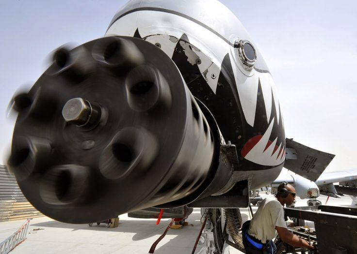 The business end of a Fairchild Republic A-10 Thunderbolt's GAU-8 Avenger nose cannon.  This baby spits out armor piercing depleted uranium tipped 30mm rounds at a rate of 3,900 rounds per minute.  That's 65 rounds in a single second!  If you'