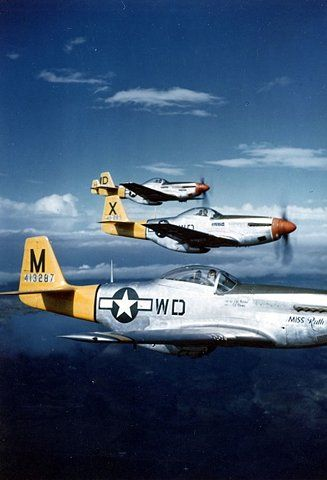 The North American Aviation P-51 Mustang was an American long-range, single-seat fighter and fighter-bomber used during World War II, the Korean War and other conflicts. Wikipedia Top speed: 437 mph (703 km/h) Wingspan: 37' (11 m) Length: 32' (9.8