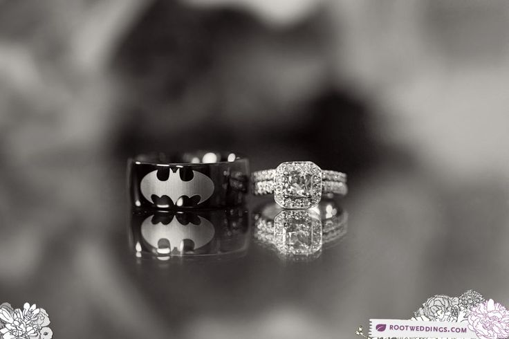 This is one of the cutest weddings I've ever seen. And I would like to know where to get that Batman ring ;): Wedding Ring, The Batman, Wedding Ideas, Weddings, Rings, Dream Wedding, Future Wedding, Batman Wedding