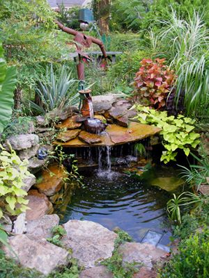 """Tips on Water Gardens: Felder's front yard water feature has a """"fall rock"""" set atop some other rocks to create a cave; like cupping your hands to holler a long distance, this amplifies and aims the sound of the falling water: Garden Ideas, Wat"""
