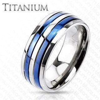 True Blue Titanium - Dual Blue Bands Beautifully Crafted Blue Titanium Comfort-Fit Ring. #BuyBlueSteel #Jewelry: Wedding Ring, Titanium Rings, Wedding Ideas, True Blue, Band Rings, Wedding Bands, Blue Titanium