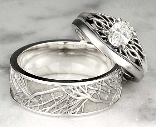 Unique-Wedding-Band-Tree-Of-Life-Set.jpg (500×408) I'll just take the mens band not the diamond one.: Diamond, Unique Wedding Bands, Wedding Rings, Engagement Ring, Mens Celtic Wedding Ring, Unique Weddings, Unique Wedding Ring