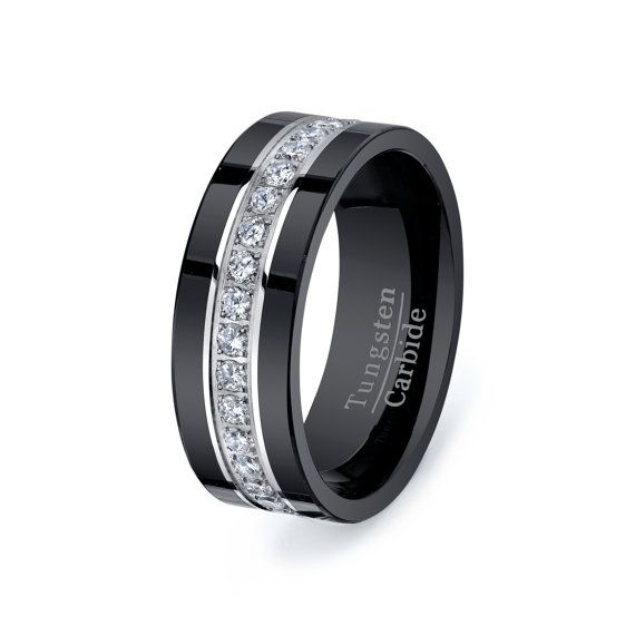 Wedding band for him  Rare Black Tungsten Carbide Ring With Brilliant by TungstenOmega: Black Diamond Wedding Ring, Mens Diamond Ring, Mens Black Wedding Band, Men'S Wedding Band, Mens Diamond Wedding Band, Black Mens Wedding Band, Mens Black Wedding