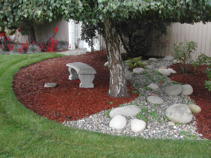 Awful red mulch.  I hate it.  The landscape is to be calm and inviting, not screaming, I'm on fire!: Backyard Ideas, Landscaping Ideas, Garden Ideas, Tree, Front Yard, Outdoor, Landscape, Garden