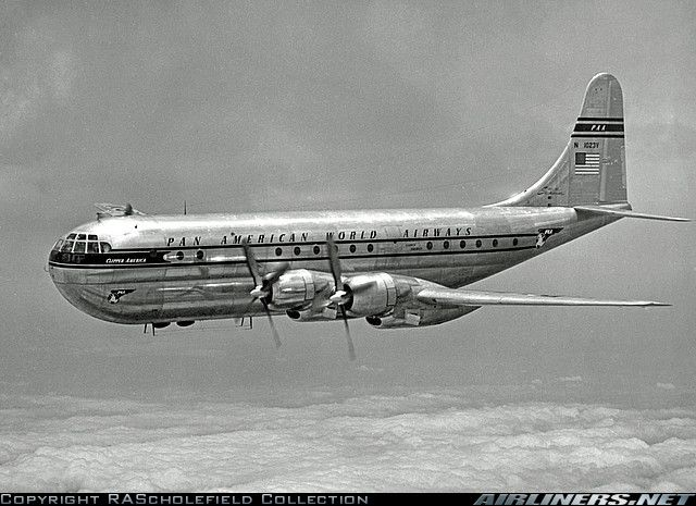 Boeing 377 Stratocruiser  My favorite plane. I wish someone would open a company flying vintage planes for people to experience the ambience of planes like they wre back in the day.  Now it's all take your shoes off, no toothpaste, mass of sardines, a