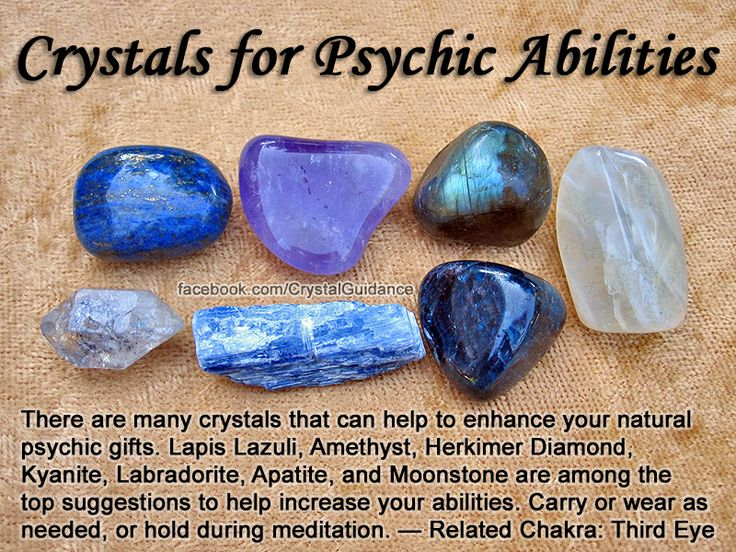 Crystals for Psychic Abilities — There are many crystals that can help to enhance your natural psychic gifts. Lapis Lazuli, Amethyst, Herkimer Diamond, Kyanite, Labradorite, Apatite, and Moonstone are among the top suggestions to help increase your abilit