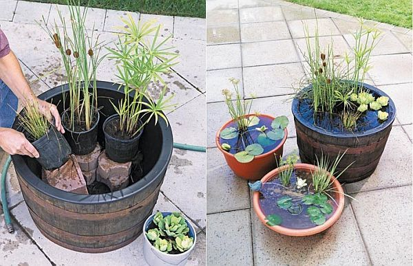 """DIY Portable Outdoor Water Garden - LOVE this! Perfect for small patios or those quiet """"nooks"""" in your garden: Water Feature, Garden Ideas, Water Gardens, Diy Portable, Gardening, Outdoor Water, Watergarden, Portable Outdoor"""