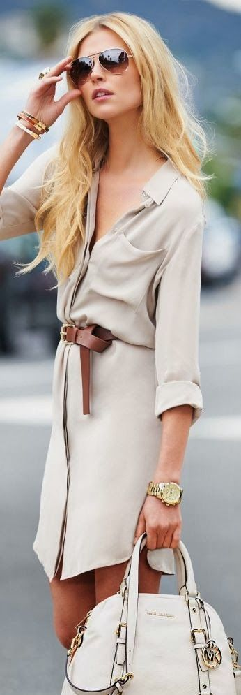 I love a good staple dress, that you can dress up or down. Especially in the Spring, when you can wear them with sandals or heels!: Shirtdress, Fashion, Casual Chic, Style, Shirts, Michael Kors, Dresses, Belt