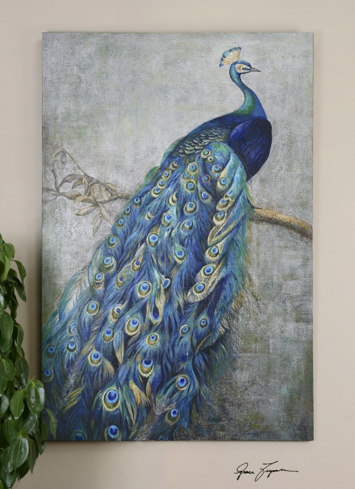 Ordering this for my living room tomorrow! Love it!! I'll take a picture once it's up on the wall...: Wall Art, Peacocks, Uttermost, Hands, Displays Vibrant, Peacock Painting, Painted Artwork, Pope