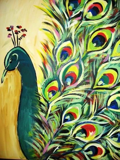 original acrylic painting. I did a watercolor painting like this for a project for 8th grade art class, I used this picture to go off of: Peacock Art, Acrylic Paintings, Craft, Peacocks, Canvas Painting, Peacock Painting, Art Prints, Painting Ideas