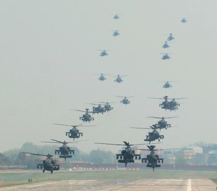 [Photo] 24 U.S. Apache attack helicopters perform mass landing in South Korea: Aviation, Military Aircraft, Attack Helicopters, Photo, South Korea, Apache Helicopters