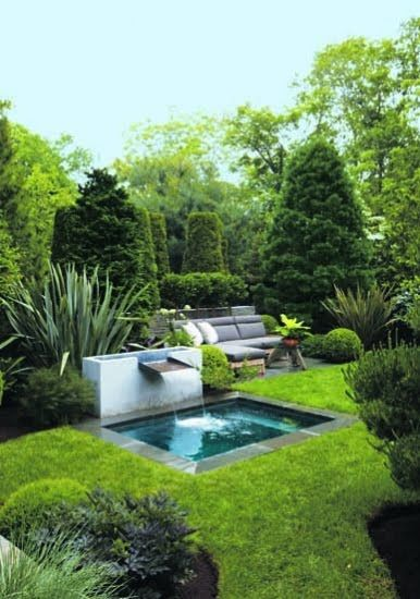 plunge pool. I've been noticing for the last few yrs. now that pool designers are now edging pools with grass. Nice look, not sure how the chlorine would affect grass? Then again, everyone switching to saltwater, right?: Plunge Pool, Water Features, O