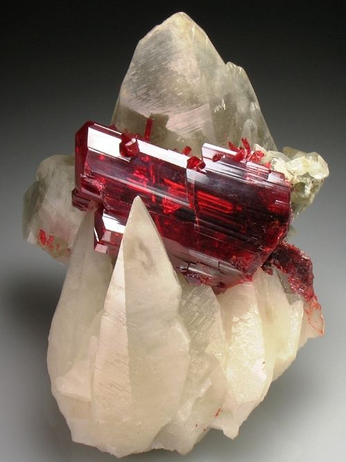 Realgar, ruby red crystal in translucent Calcite scalenohedrons <3: Crystals, Gemstone, Ruby Red, Calcite Scalenohedrons, Rock, Stones, Translucent Calcite, Minerals