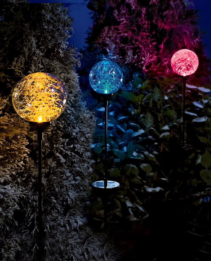 Solar back yard lights: Lights Sphere, Garden Ideas, Color, Secret Garden, Northern Lights, Patio, Backyard