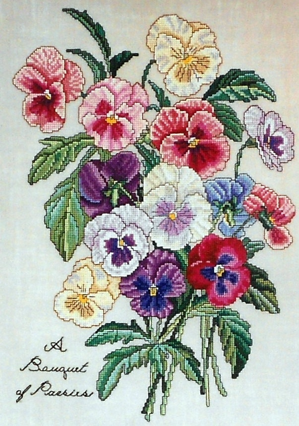 The Lilac Studio Botanical BOUQUET OF PANSIES ii 2 Flowers - Counted Cross Stitch Pattern Chart - Cindy Rice: Botanical Bouquet, Counted Cross Stitches, Counted Cross Stitch Patterns, Cindy Rice, Cross Stitch Charts, Crosstitch Patterns, Pansies Ii, Bouqu
