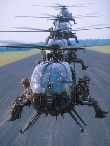 These helicopters have been around for quite sometime. Not sure of the model/name bit they are super quick and extremely versatile. I want one!!!!: Helicopter, Hero, Army Ranger, Special Forces, Little Birds, Photo, Military