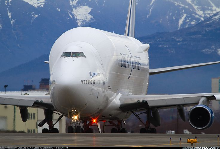 "This is the Boeing Large Cargo Freighter (LCF) or ""Dreamlifter"", which are converted Boeing 747-400 aircraft that Boeing purchased off the open market and had Everett Aviation Technologies in Taiwan convert to oversize freighters. The Dreamlifter"
