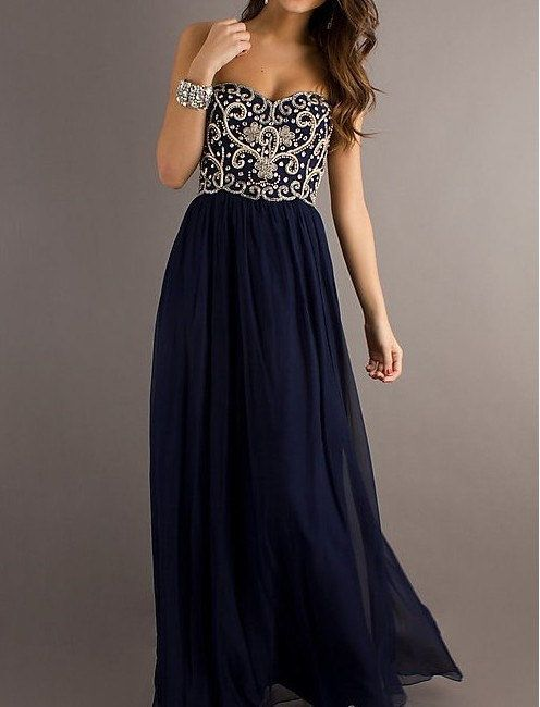 A line Navy Blue Sweetheart Chiffon Floor Length Long Prom Dress, Long Evening Dresses, Formal Dresses: Dress Prom, Fashion, Promdresses, Formal Dresses, Style, Dressprom, Prom Dresses