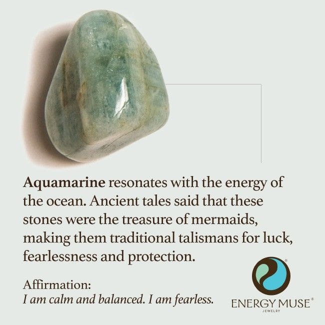 Aquamarine resonates with the energy of the ocean. Ancient tales said that these stones were the treasure of mermaids, making them traditional talismans for good luck, fearlessness and protection.: Aquamarine Mermaid, Gemstone, Healing Crystals, Aquamarin