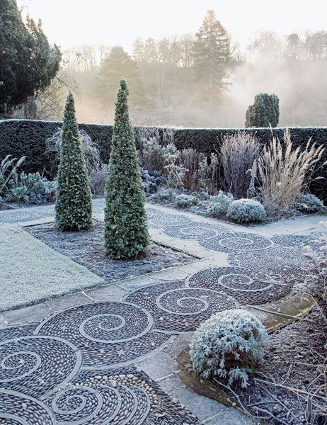 Arabella Lennox-Boyd, one of England's leading garden designers, has established a multitude of inspiring spaces at Gresgarth, the Lancashire home she shares with her husband, former politician Sir Mark Lennox-Boyd. One area (shown frosted by winter) feat
