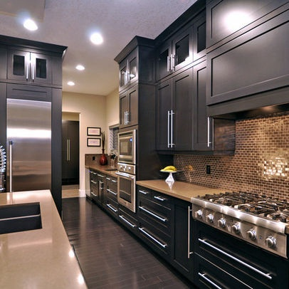 Black kitchen cabinets look great with the stainless steel and small subway tile. | designed by Jordan Lotoski: Decor, Dream House, Kitchen Ideas, Kitchen Designs, Dream Kitchens