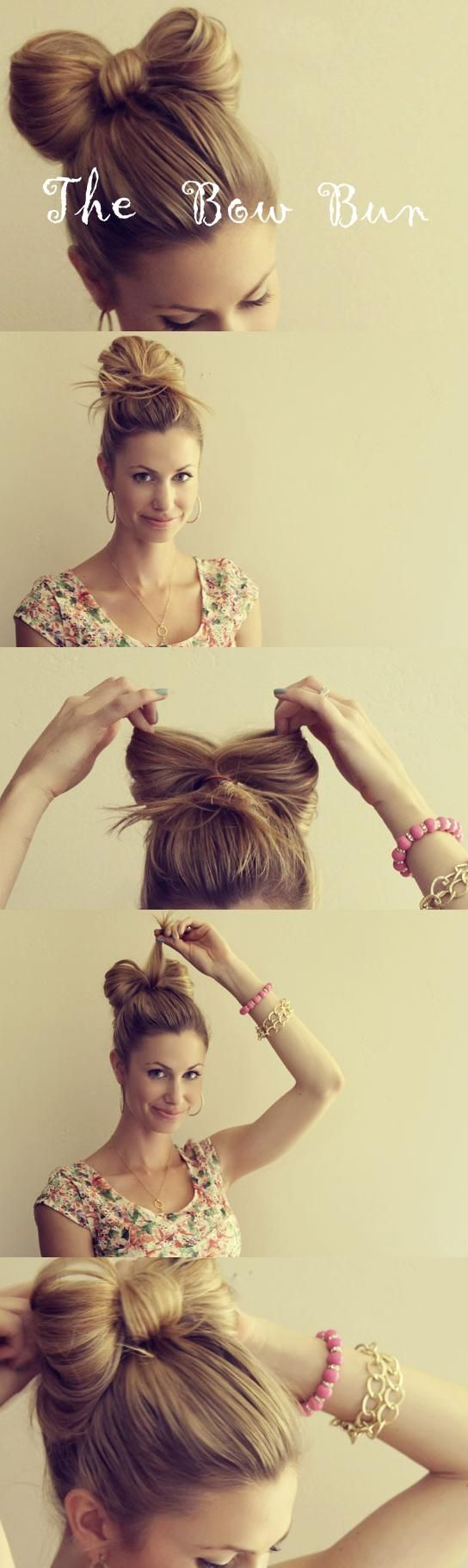 bow bun.: Hairbow, Hairstyles, Hair Styles, Hairdos, Bow Buns, Hair Tutorial, Hair Bows, Updo