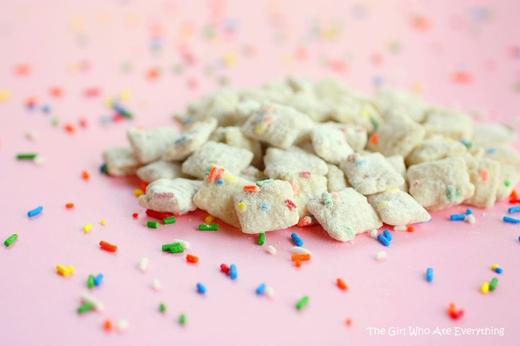 Cake Batter Muddy Buddies (from www.the-girl-who-ate-everything.com): Puppy Chow, Muddy Buddies, Fun Recipes, Batter Puppy, Cakes, Food, Batter Muddy, Cake Batter, Cakebatter