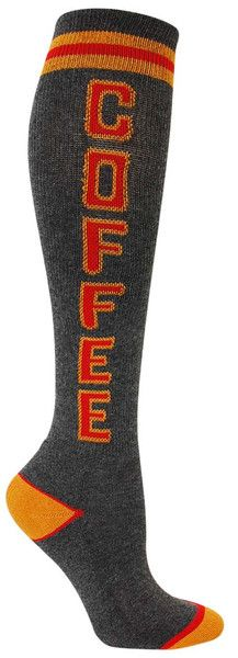 Charcoal knee high socks with COFFEE in red and tan lettering, and a cushioned footbed. Unisex design: fits a women's shoe size 7 - men's 13.5.: Charcoal Knee, Knee Highs, Knee High Socks, Products, Coffee Knee