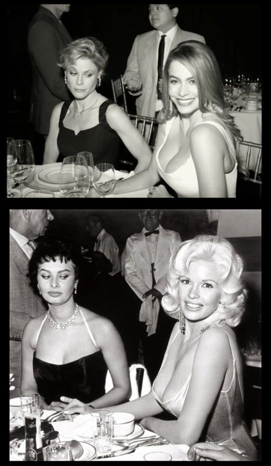 Claire and Gloria of ABC's Modern Family reenacting the famous photo of Sophia Loren and Jayne Mansfield.: Pictures Funnypictures, Funny Quotes And Sayings, Famous Photos, Humor Funnypictures, Funny Pictures, Funny Images, Funny Photos, Funnyimages Fu