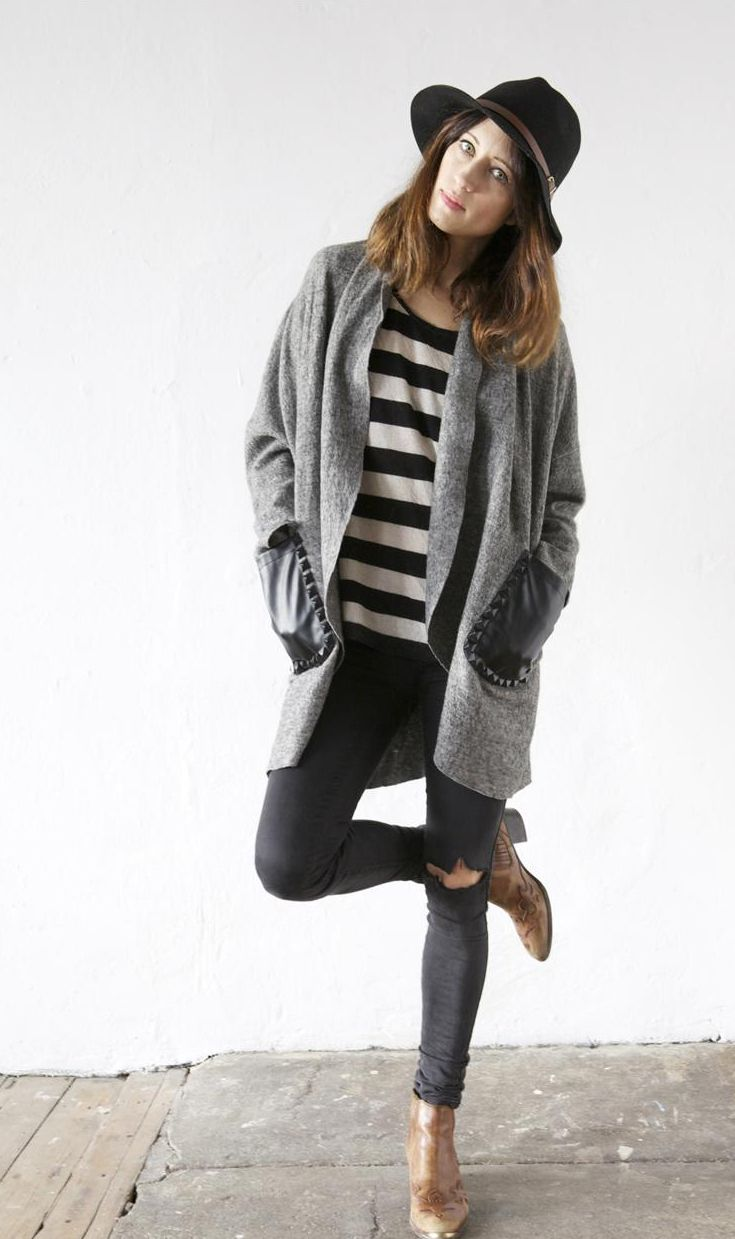 comfy and cozy fall style: Fall Casual Outfits, Cardigan, Winter Outfit, Cozy Outfit, Fall Outfit, Fall Styles, Style Stripes, Black Hats