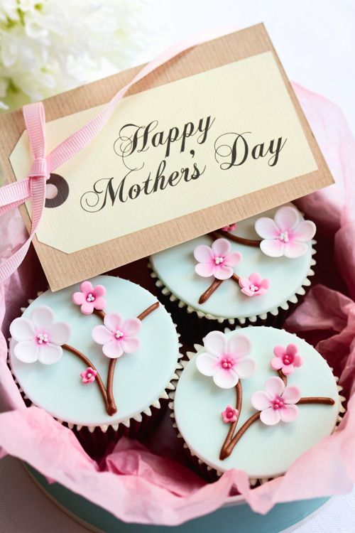 Cupcake decoration idea for Mother's Day. Personalize the design with mom's favorite flower.: Idea, Sweet, Mothers, Cupcakes, Mother Day Gifts, Cup Cake, Mother'S Day, Cherry Blossoms