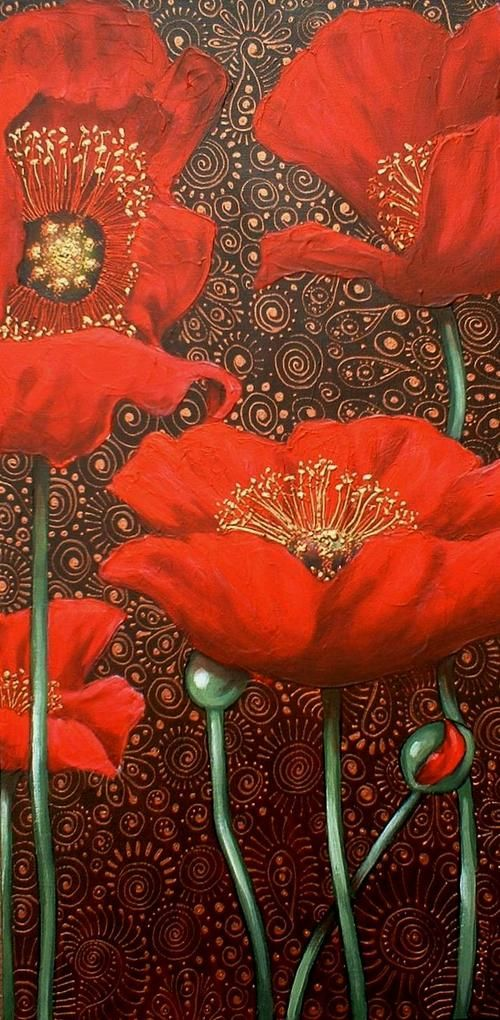 Dancing Red Poppies  ~ Cherie Dirksen, South African artist: Artists, Red Poppies, Color, South African, Cherie Dirksen, Dancing Red