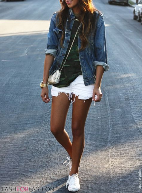 Denim jacket, military t shirt, white shorts and converse.: White Converse, Fashion, White Shorts, Summer Outfit, Style, Spring Summer, Jean Jackets