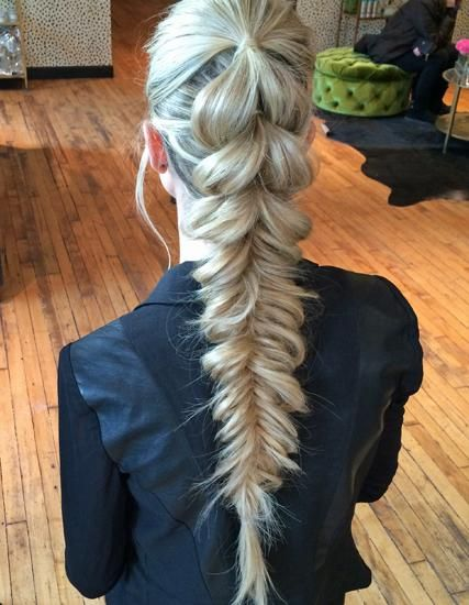 How-To: Pull-Through Pony into Fishtail   Modern Salon: Braided Updo, Long Hair Style, Hair Tutorial, Long Hair Braid, Edgy Hairstyle, Ponytail Braid Hairstyle
