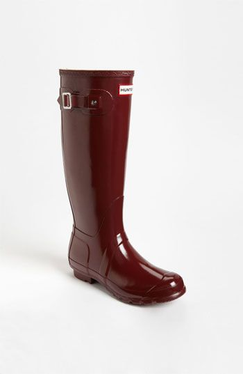 Hunter 'Original Tall' Gloss Rain Boot in Merlot (Women) | Nordstrom: Boots Women, Hunters, Hunter Boots, Gloss Rain, Hunter Rainboots Yes, Maroon Hunter Rain Boots, Hunter Rain Boots Maroon