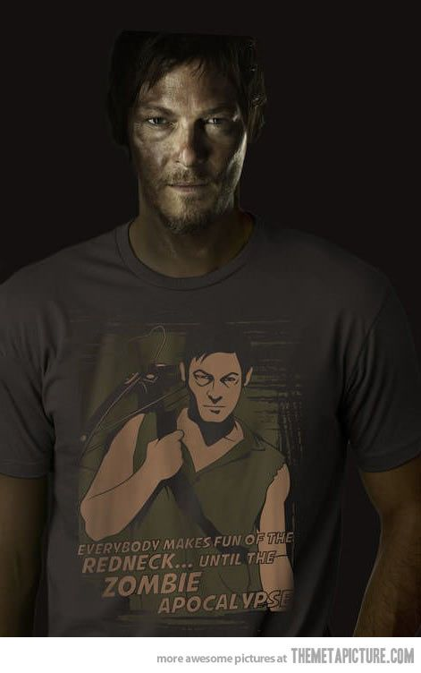 i may be the only person on the planet who doesn't like Daryl but i dont care. i really hope he is killed off this season: T Shirt, Norman Reedus, Daryl Dixon, Shirts, The Walking Dead, Normanreedus, Redneck, Zombie Apocalypse, Walkingdead