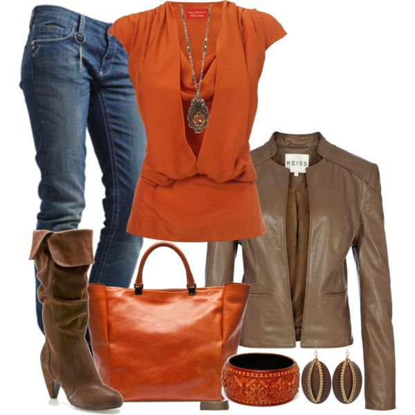 I was drowning in a board of grays and neutrals, so I had to pin some color! This smoky persimmon color will brighten up anyone's mood.: Orange, Style, Clothes, Color, Fall Outfits, Fall Fashion, Closet, Fall Winter