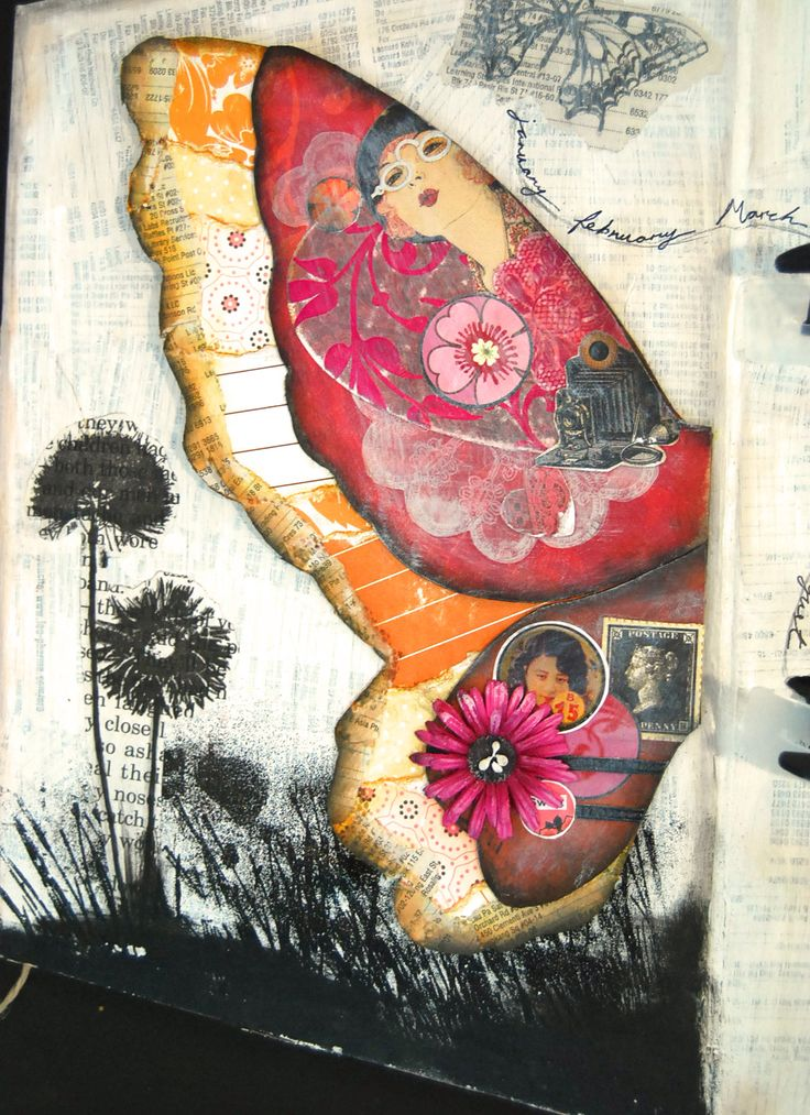love the idea of portraits inside a wing - could be a bird wing...: Journal Ideas, Butterflies, Butterfly Journal, Art Journals, Butterfly Artist, Art Journaling