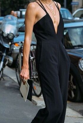 Minimal + Chic | @codeplusform: Fashion Weeks, Sporty Chic, Inspiration, Street Style, Outfit, Street Styles, Black Jumpsuit, Jumpsuits