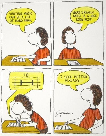 Musical Humor. Writing oboe music. There is so many rests!!! Why?!?!?? And somehow the instructor always knows just when too cut off to make me mad..... Yet he still does it: Music Jokes, Band Geek, Long Rest, Funny, Hard Work, Funnies, Things, Writing Mu