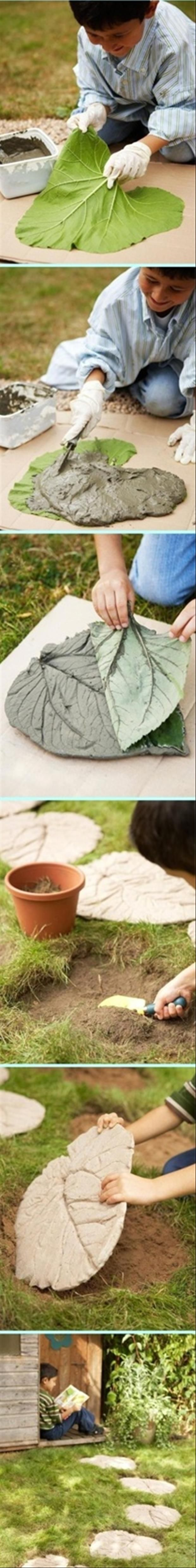 outdoor craft ideas, walking path: Craft, Elephant Ears, Cool Ideas, Leaf Stepping Stones, Kid