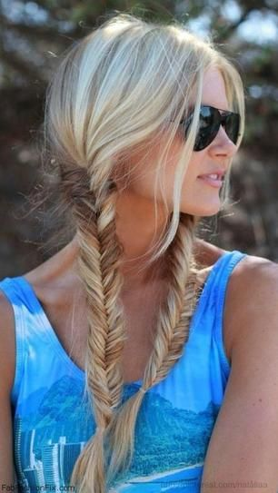 Relaxed Fishtail Pigtails I literally JUST had this hairstyle Monday and it was so freakin' cute!: Hair Ideas, Fish Tail, Hairstyles, Hair Styles, Fishtail Pigtails, Long Hair, Makeup, Fishtail Braids, Hair Color