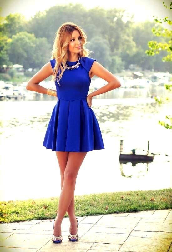 So cute! I love it! ... These kind of dress can make any size look flattering!: Fashion, Style, Clothes, Color, Dream Closet, Outfit, Dresses, Royal Blue