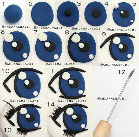 This is a great tutorial for a eye using gum paste (on cakes), or fondant (on cakes), or even paint on polymer clay!: Gumpaste Fondant Eye, Fondant Tutorials, Fondant Eyes Tutorial, Polymer Clay, Gum Paste Fondant, Cake Tutorials, Fondant Figurine Tutoria